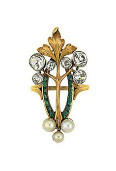 An emerald, diamond and pearl ring In the Art Nouveau style, designed as a calibré emerald navette-shaped frame applied with a foliate motif with old brilliant-cut diamond collet and pearl accents, French marks post 1927