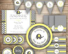 Elefante bebé ducha, género Neutral Baby Shower, amarillo y gris, Chevron, lunares, bebé ducha paquete fiesta imprimible