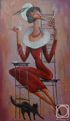 """Панина Кира. Платье цвета """"бордо"""" и чашечка кофе"""
