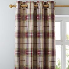 Dunelm Check Fully Lined Red and Brown Balmoral Eyelet Curtains Types Of Curtains, Curtains, Purple Curtains, Dining Room Curtains, Curtain Patterns, Lined Curtains, Curtains Dunelm, Living Spaces, Red Drapes