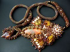 Bead embroidered Pendant necklace shibori silk ribbon Swarovski navette crystal freshwater pearl Beadwork handmade Ooak seed beaded jewelry