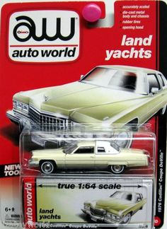 1976 Cadillac Coupe De Ville AUTO WORLD True 1:64 Scale Premium All Metal YELLOW