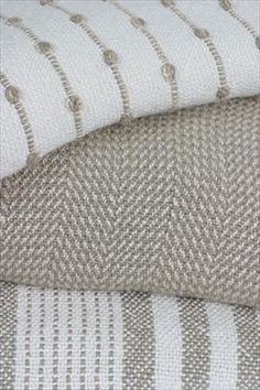 Textillery Throws: Bamboo Stripe Handwoven Throw Med Taupe and Natural