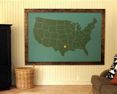 "I found this on the blog of ""Older and Wisor"", (the link is attached); it is a map of the USA, on craft wood, or plywood, depending on what is it called in the country you live in! In Australia we call it, plywood. Any country could be used instead of the USA. http://olderandwisor.blogspot.com.au/search?updated-max=2011-10-05T08:16:00-05:00=5"