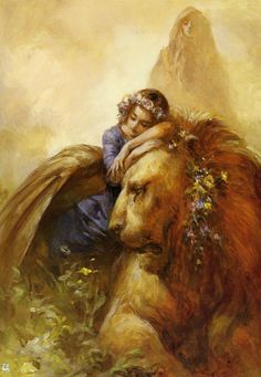 by Jun Suemi ---this reminds me so much of Lucy and Aslan <3