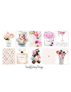 Printable Planner Stickers - Erin Condren - Full Washi Boxes - Chanel - Girly - Floral - Perfume