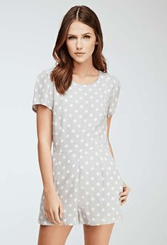 Forever 21   Abstract Dotted Puff-Sleeve Romper #forever21 #romper