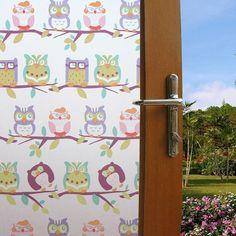 Cartoon Owl Static Privacy Frosted Window Tint Film Kids Bedroom Glass Sticker #Budgettank #AnimalPrint
