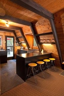 Modern Kitchen Interior Rustic gets a modern edge but keeps its pedigree in a lakeside vacation cabin, thanks to a thoughtful renovation by its architect owner - Tiny House Cabin, Cabin Homes, Log Homes, Tiny Homes, Dream Homes, A Frame House Plans, A Frame Cabin, A Frame Homes, Wood Frame House