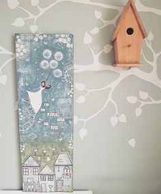 """One of my custom orders for a gorgeous little girl's nursery for ZeeZo Designs. I also did the wall painting of the tree and my hubby made the lovely wooden birdhouse with a little night light in it. Original Mixed Media painting on canvas """"Girl with dandelions""""  #mixedmediaart #mixedmediagirl #canvaspainting #originalpainting #artforkids #artforchildren #girlpainting #dandelion #acrylicpainting #zeezodesigns #arthouses"""
