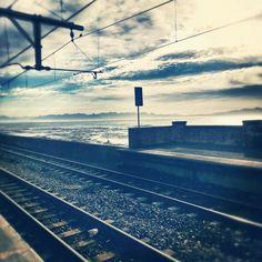 Kalk Bay station, False Bay coast, Western Cape Cape Town, Cn Tower, Railroad Tracks, South Africa, Followers, Scenery, Coast, Boards, Clouds