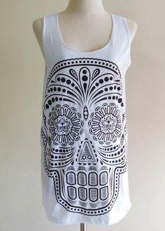 b097ee306ffdb Skull Shirt -- Skull T-Shirt Skull Design Art Shirt Unisex Shirt Women Tank  Top Tunic Vest Women Shirt Sleeveless Singlet White Shirt Size M