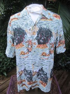 HAWAIIAN Aloha SHIRT vintage 1990s L pit to pit 23 THUMS UP Rayon sea turtles #ThumsUp #ButtonFront