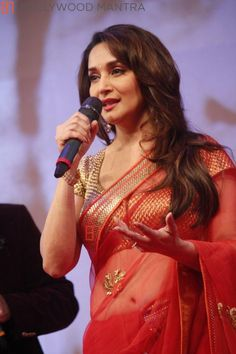 Madhuri Dixit Nene | Celebs grace at the launch of Dilip Kumar's biography #saree #sari #blouse #indian #hp #outfit  #shaadi #bridal #fashion #style #desi #designer #wedding #gorgeous #beautiful