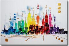 Schilderij New York Skyline van Ines - Kunstvoorjou.nl