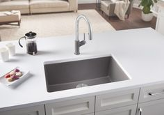 BLANCO PRECIS 27 granite composite undermount kitchen sink  in Metallic Gray SILGRANIT