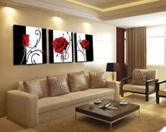 Abstract Art In Black White Red Decorative Wall Decorative Canvas Print Set Of 3 (no & 493 best Art of Red Black u0026 White images on Pinterest | Art ...