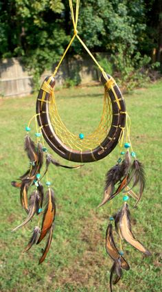 Horseshoe Dreamcatcher with Turquoise. Dream by RebeccasWorks, $32.00