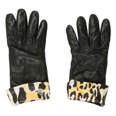 Pre-owned Roberto Cavalli Short Leather Gloves ($95) ❤ liked on Polyvore featuring accessories, gloves, black, leather gloves, short leather gloves, roberto cavalli and short gloves