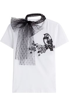 RED VALENTINO Cotton T-Shirt With Bird Embroidery. #redvalentino #cloth #shortsleeve