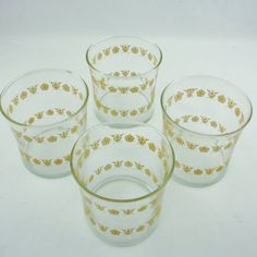 Vintage Corelle Butterfly Gold clear short by recycledwithcare