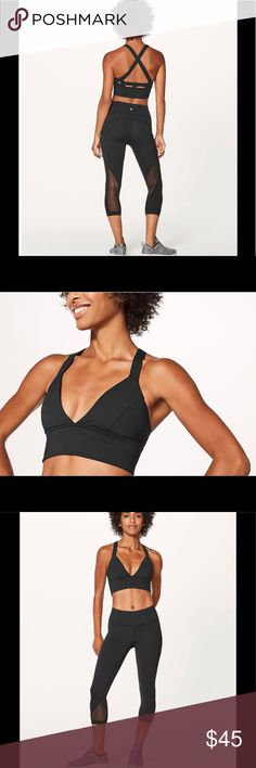 NWT Lululemon Sweat Your Heart Out Bra Lulu designed this bra with a deep V neckline and an open back to keep you cool during low-impact, high-sweat activities. Cross-back straps mean you don't have to worry about the straps falling off your shoulders. Slip in optional, removable cups for a little extra coverage—if you want it. This bra is intended to provide light support for sweat enthusiasts with an A/B cup. Luxtreme® is sweat-wicking, four-way stretch, and engineered not to shrink…