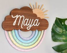 Pastel Rainbow Name Sign Personalized carved wall hanging Rainbow Baby Names, Rainbow Nursery, Rainbow Wall, Mason Jar Sconce, Hanging Mason Jars, Baby Name Signs, Personalized Wall Art, Jar Lights, Hanging Art