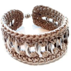 Cuff Friendship Bracelet BrownBlack Beige Pop by PopTopFashion ($10) ❤ liked on Polyvore