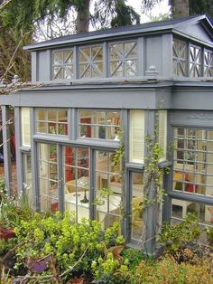 Vintage Greenhouses & Potting Sheds – Victoria Elizabeth Barnes Vintage Greenhouses & Potting Sheds – Victoria Elizabeth Barnes,Gewächshaus Green House Mini conservatory, 43 recycled glass windows and doors…charming! Glass house by Debra Prinzing, via.