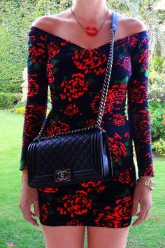 Matchy-Matchy  #Match #roses #red #black #ootd #dress #mini #loubies #louboutin #sole #heels #shoes #wiwt #lips #jewellery #necklace #motel #rocks #chanel #boy #bag #boybag