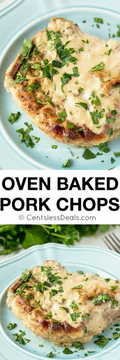 """These oven baked pork chops are truly delicious, and they're a perfect """"comfort"""" dish on fall and winter evenings. Covered with cream of mushroom soup during the last half-hour of baking, they're sure to bring many smiles to many satisfied faces!"""