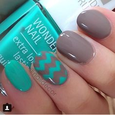 Teal and Gray!!! Pretty Painted Fingers & Toes Nail Polish| Serafini Amelia| Nail Art-Great color combo!