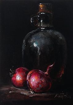 Red Onions and Bottle by Nina R. Aide on black