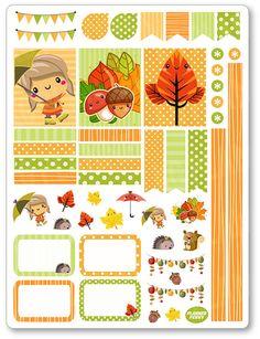 Herbst Mädchen schmücken Kit / wöchentlich verteilt Planner Aufkleber für Erin Condren Planer, Filofax, Pflaume Papier