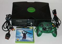 Original Microsoft XBOX Konsole+Alle Kabel+Controller+Spiel Amped,Ansehen!