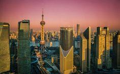 Lataa kuva Orient Pearl Tower, Shanghai, sunset, pilvenpiirtäjiä, metropoli, Kiina, Aasiassa
