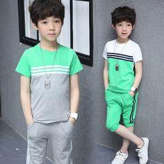 Big Boys Summer Casual Clothing Set 2017 Kids Children Cotton T-shirt + Pant,2pcs Sports Suits #Affiliate
