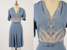 dress/ embroidered rayon dress/ medium by shopKLAD 1940s Outfits, Vintage Outfits, Vintage Wardrobe, Vintage Dresses, Vintage Clothing, 50s Dresses, Party Dresses, 1930s Fashion, Retro Fashion
