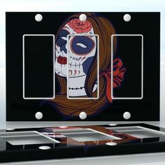 DIY Do It Yourself Home Decor - Easy to apply wall plate wraps | Sugar Skull Girl #4 Brown hair sugar skull girl and flowers wallplate skin sticker for 3 Gang Decora LightSwitch | On SALE now only $5.95