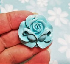 FF-157; Beautiful Aquamarine Resin Rose Cabochon Yellow Paper, Pink Paper, Paper Roses, Aquamarine Colour, Upcycled Crafts, Craft Items, Creative Design, Embellishments, Craft Supplies