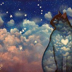 I'm cat por RaphaelVavasseur en Etsy Good Night Cat, Cat Drawing, Crazy Cats, Rock Art, Cat Art, Portal, Original Paintings, Etsy, Fine Art Prints