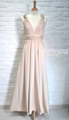 MOH Infinity Dress Nude 15+ Different Ways To Style Floor Length Convertible Dress by craftingsg $50.00 - can add a blush flower accent