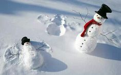 Snowmen Making Snow Angels
