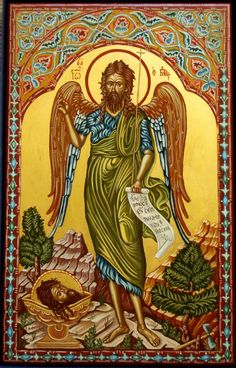 John the Baptist modern icon. I really love St. Religious Pictures, Religious Icons, Religious Art, Byzantine Icons, Byzantine Art, Greek Icons, Christian Paintings, John The Baptist, Orthodox Icons