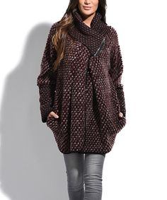 Look at this Burgundy Wool-Blend Wrap Coat on #zulily today!