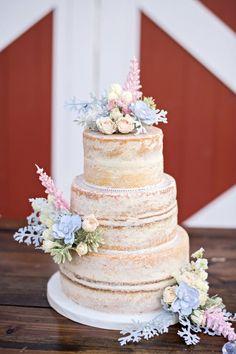 Spring Floral Naked Wedding Cake | Kristen Weaver Photography on @eld_lauren via @aislesociety