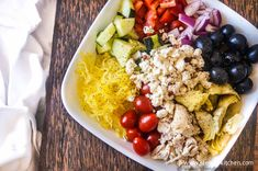 Spaghetti Squash Chopped Greek Salad for 200 calories  - low carb and healthy pasta salad