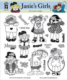 Janie's Girls Clear Acrylic Stamp set by Hot Off The Press Inc (4101132)