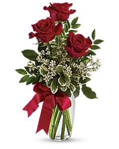 Thoughts of You Bouquet with Red Roses Vase Arrangement