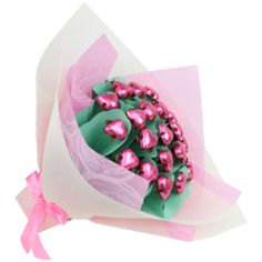 """""""A delicious Mother's Day gift idea, this chocolate bouquet features 20 Belgian chocolate hearts."""